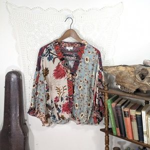 Umgee floral bell sleeve ruffle blouse